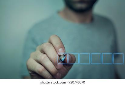 Man with checkbox.