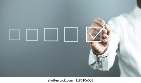 Man with checkbox. Business concept