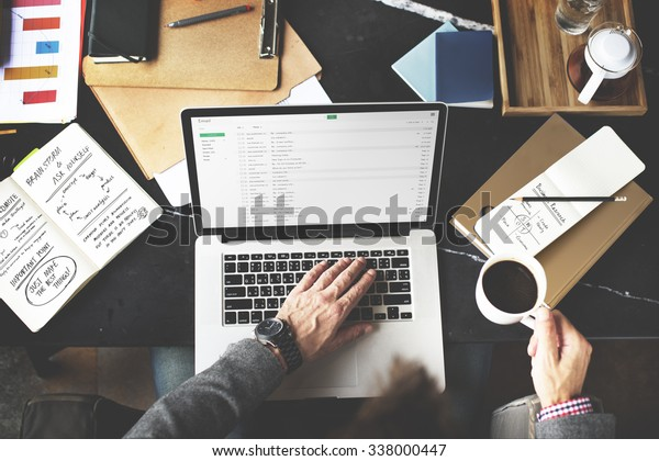 Man Checking Emails Coffee Break Concept