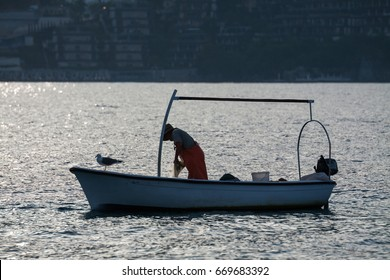 Man checking fishing sits