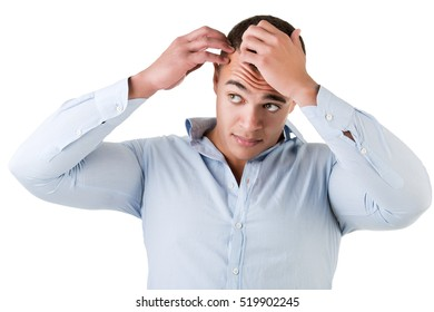 Man checking hairline, isolated in white