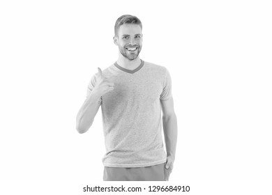 Man cheerful shows thumbs up as symbol of recommendation isolated white background. Man happy cheerful face support or recommend. Guy happy recommend copy space. Approve or recommend concept.