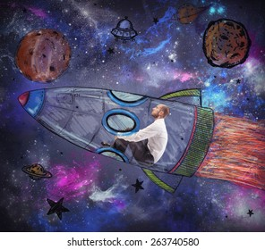 Man with child fantasy becomes an astronaut