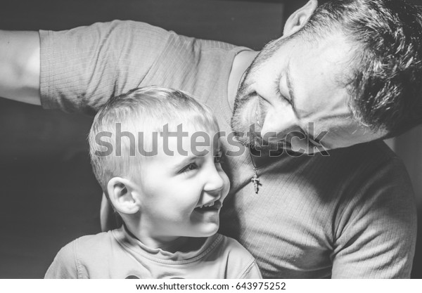 man with a child, the happy