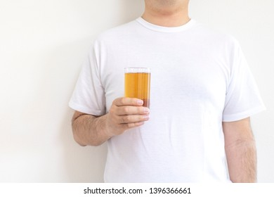 A man with chilled barley tea