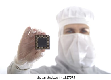 A man with a chip in a hand