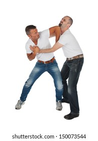 Man choking other man, isolated on white