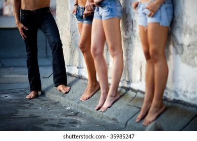 Man choosing between three young beautiful  women