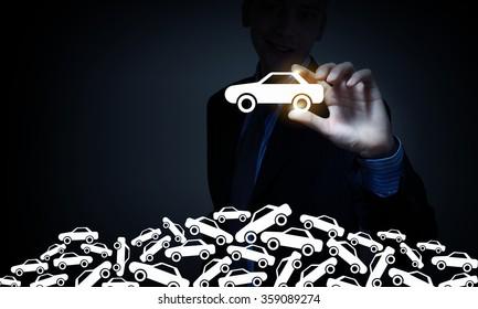 Man choosing car sign
