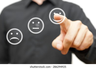 man is choosing happy,positive smile icon, concept of satisfaction and improvement