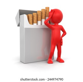 Man and Cigarette Pack  (clipping path included)