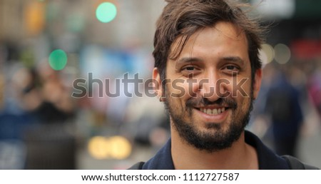 Man in city face portrait