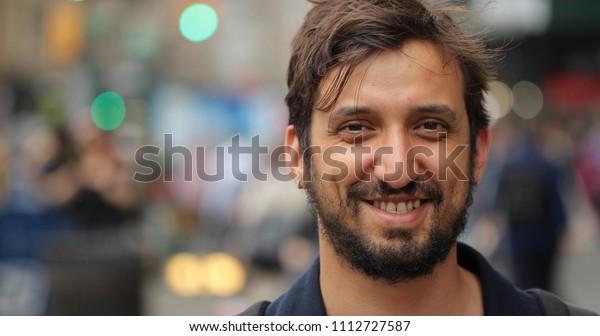 Man in city face portrait