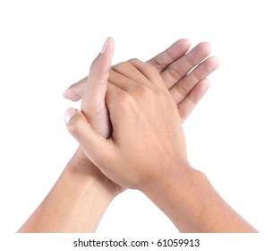 man clapping with both hands