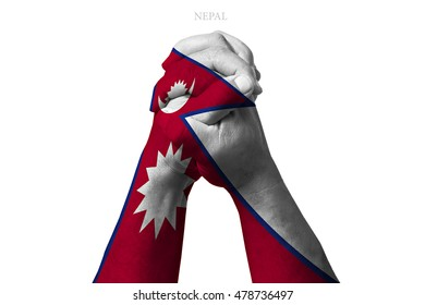 Man clasped hands patterned with the NEPAL flag