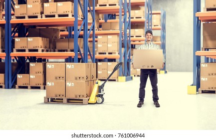 man in classic warehouse with pallet 3d rendering image