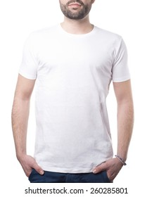 man with classic white shirt isolated on white with clipping path for background and garment