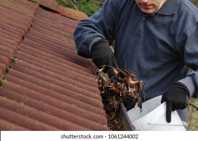 Man cleaning dirty gutter from moss and leaves. Building with unclean tile roof after winter. Spring cleaning.