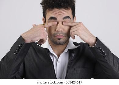 Man cleaning eyes