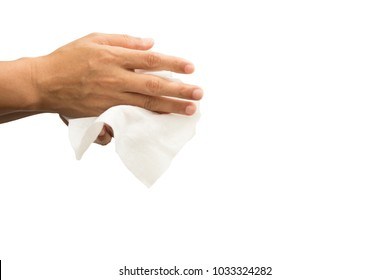 Man cleaning his hand with wet tissue isolated on white background