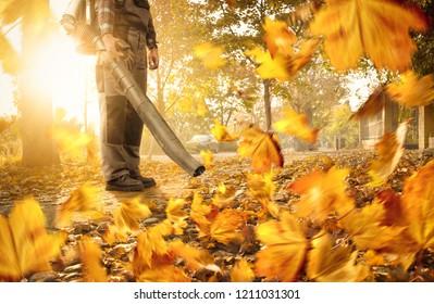 Man cleaning the sidewalk with a leaf blower