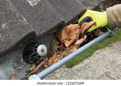 Man cleans the gutter