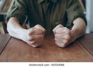 man clenched fist