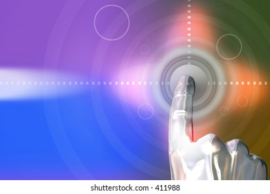 Man clicking on the button. 3D Abstraction digital design.