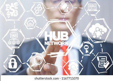 Man clicks a hub network text button on a virtual panel. Hub Network. Web digital networking technology. Spoke. Information modern cloud networking connection concept.