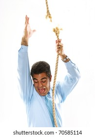 Man climbing a breaking rope.