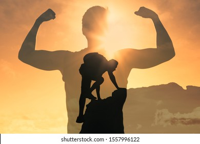 Man climbing up mountain, feeling strong and powerful. Double exposure, self improvement, success, and life goals concept.