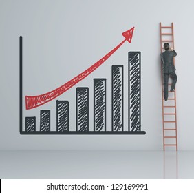 man climbing on ladder and chart