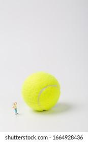 Man climbing tennis on white background