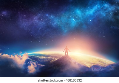 A man climbs a high mountain and lifts his arms up in praise. 3D illustration. Elements provided by NASA