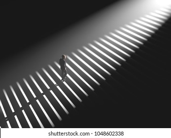 man climbs the stairs in the light, 3d illustration