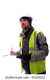 Man with clip board doing a survey, white background.