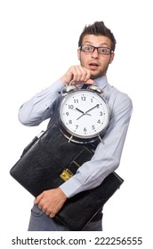 Man with clock trying to meet the deadline isolated on white