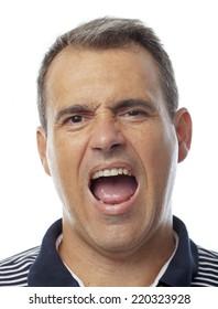 man close-up screaming
