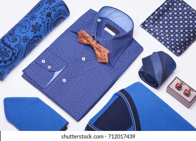 Man clothes composition. Men's shirt isolated. Fashion background. Still-life.
