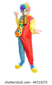 a man in a clown costume wearing a gasmask on a white background
