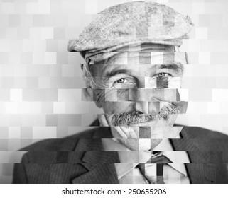 Man collage mosaic concept