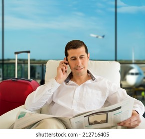 man commenting economy news in vip zone aiport