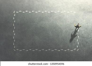 man complete a footsteps frame