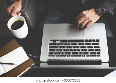 Man Computer Laptop Coffee Cafe Concept