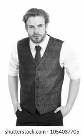 man or confident gentleman in waistcoat and tie isolated on white background, businessman and student, elegance and fashion