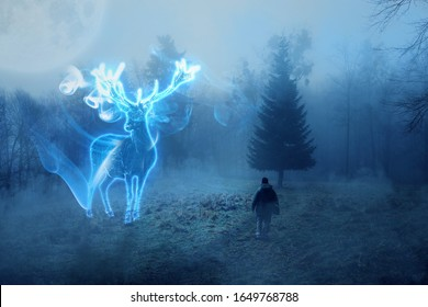 A man conjures up a mystical dark forest, a deer