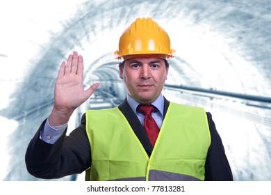 man with construction hat portrait