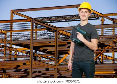 A man Construction Worker on a job site.