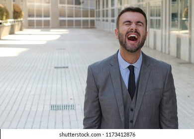 Man with contagious laughter isolated