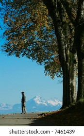 A man contemplates a distant chain of mountains, while standing on a tree-shaded road, in Fall.